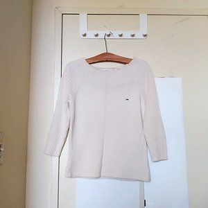 Tommy Hilfiger Denim White Knit Boat Neck Sweater